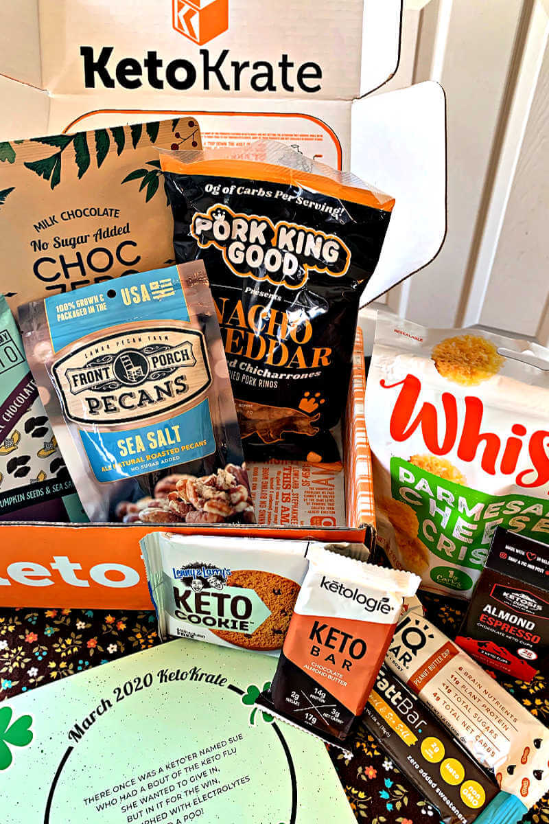 Keto Krate March contents for review. New low carb snacks. #ketosnacks #ketokrate