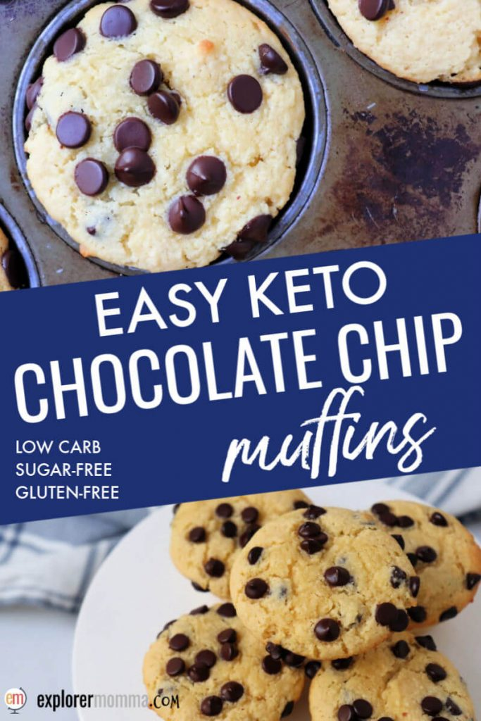 Easy keto chocolate chip muffins are made of almond flour and coconut flour. Gluten-free, sugar-free, moist and delicious. Perfect for a keto breakfast. #ketobreakfast #ketomuffins