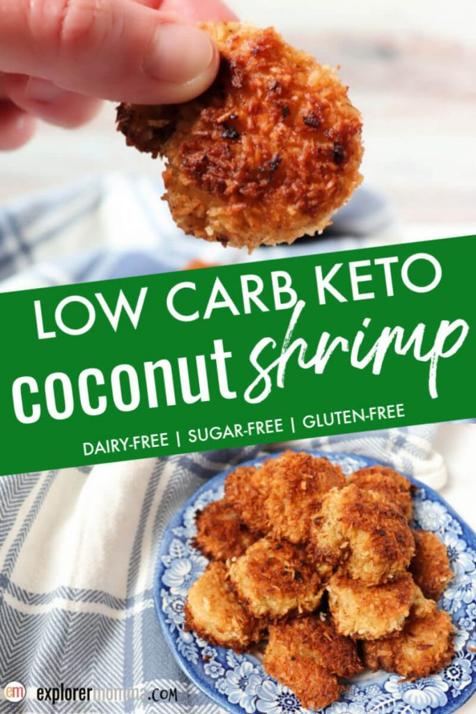 Best easy low carb keto coconut shrimp. Gluten-free and sugar-free, a high-protein keto dinner perfect with sweet chili dipping sauce. #ketodinner #ketoshrimprecipes