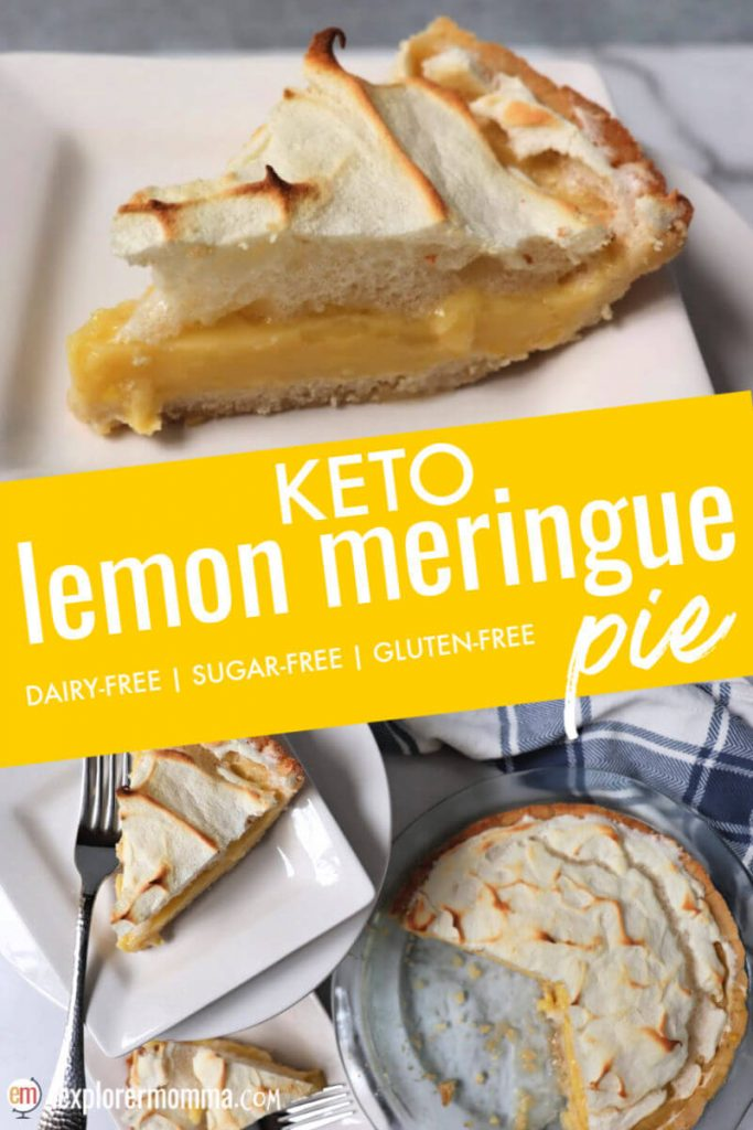 A classic done sugar-free and gluten-free, keto lemon meringue pie is sweet yet tart with the perfect bit of pillowy meringue. #ketodesserts #ketorecipes