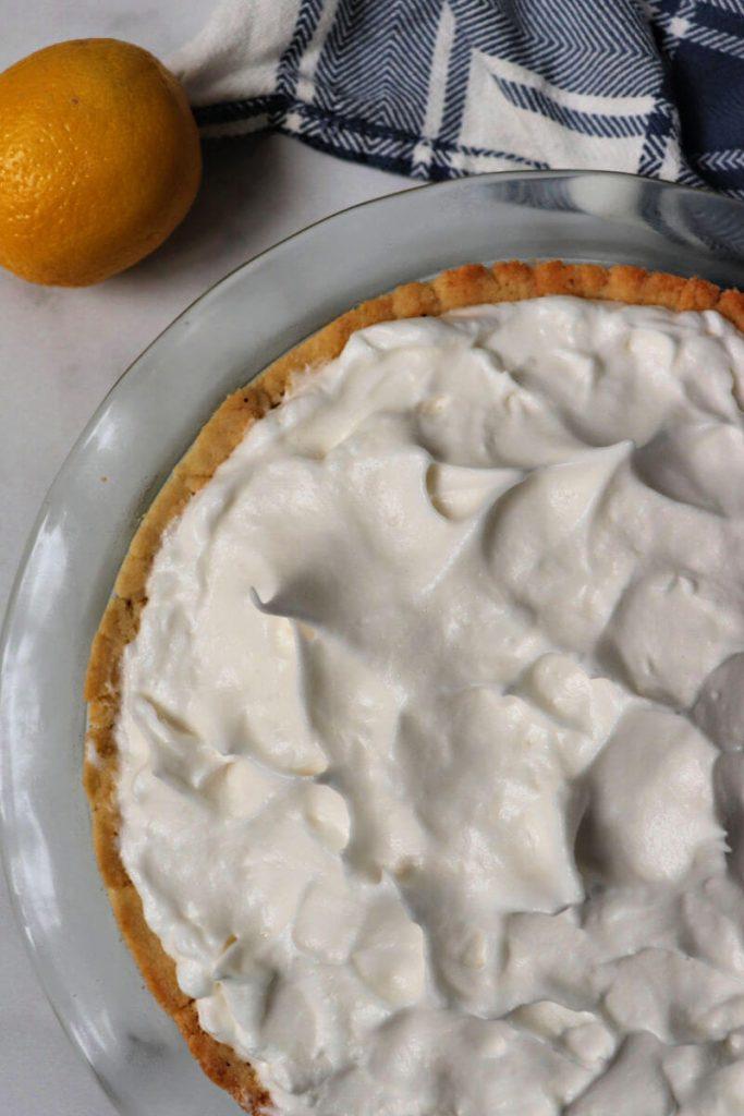 Sugar-free meringue topping on the keto lemon meringue pie.