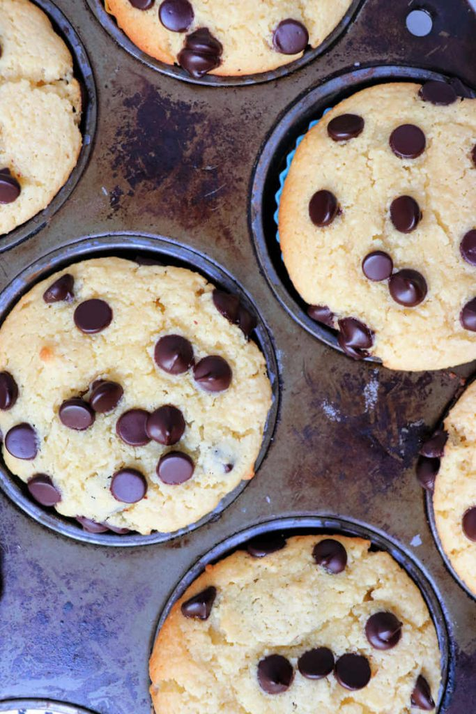 Keto chocolate chip muffins baked overhead view