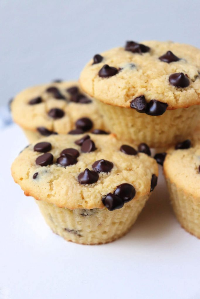 Delicious and easy keto chocolate chip muffins for breakfast or a gluten-free snack. #ketorecipes #ketomuffins