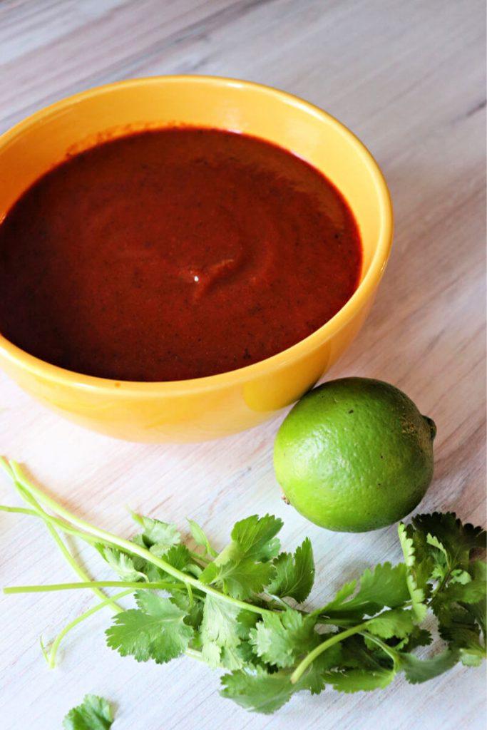 Bowl of sugar-free keto enchilada sauce