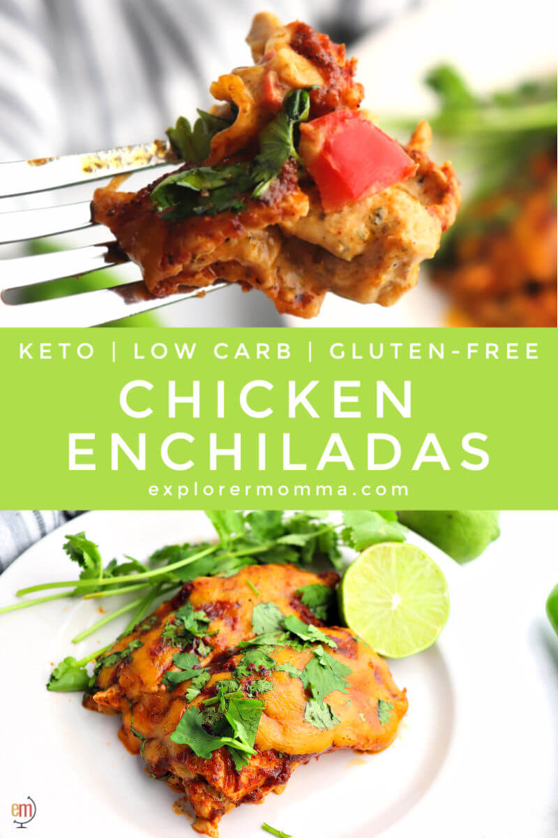 The best keto chicken enchiladas with a creamy spiced chicken on the inside, wrapped in protein tortillas, and baked with sugar-free enchilada sauce and cheddar cheese. #ketodinner #ketoenchiladas