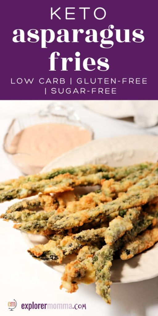 Delicious keto asparagus fries are baked with a parmesan and pork rind crumb coating, served with a spicy sugar-free lemon garlic dip. #ketoappetizer #ketorecipes #ketosides