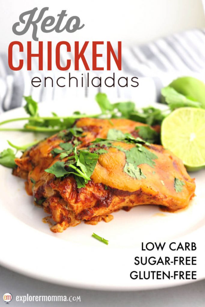 A popular low carb family meal, these are the best keto chicken enchiladas. Gluten-free and sugar-free Mexican food. #ketorecipes #ketodinner
