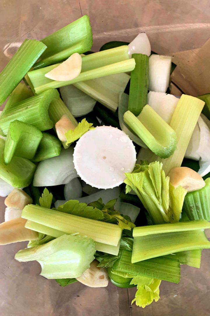 Food processor bowl of keto gumbo veggies