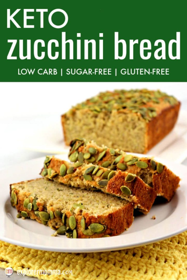 This is the best ever keto zucchini bread recipe with almond and coconut flours and topped with pumpkin seeds. Gluten-free, sugar-free, and perfect to use that garden zucchini. #ketorecipes #ketobreads