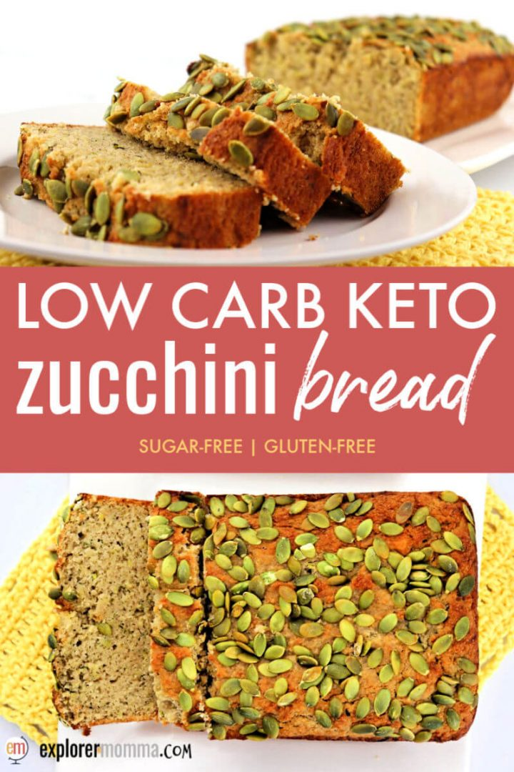 Super delicious and moist, keto zucchini bread is filled with spice, zucchini, cream cheese, almond and coconut flours, all topped with pumpkin seeds. #ketorecipes #ketodesserts