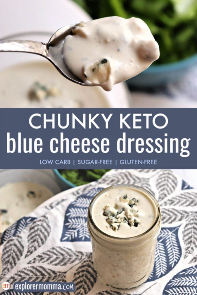 Homemade chunky blue cheese dressing will delight your tastebuds without all the sugar and additives in the bottled versions. It's sugar-free, gluten-free, and easy to make. A delicious low carb dressing on a cobb salad, as a dip, or even on top of a steak.