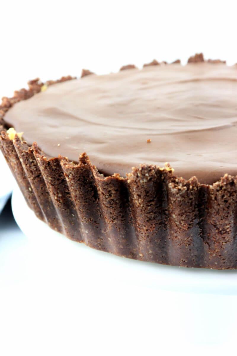Keto Peanut Butter Pie with sugar-free ganache