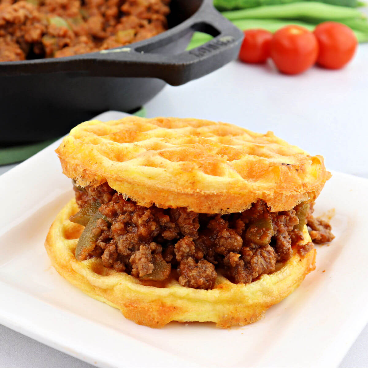 Keto sloppy Joe made in two chaffles.