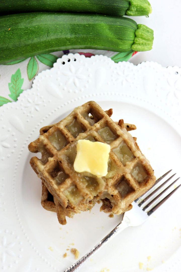 Bite out of keto zucchini waffles overhead