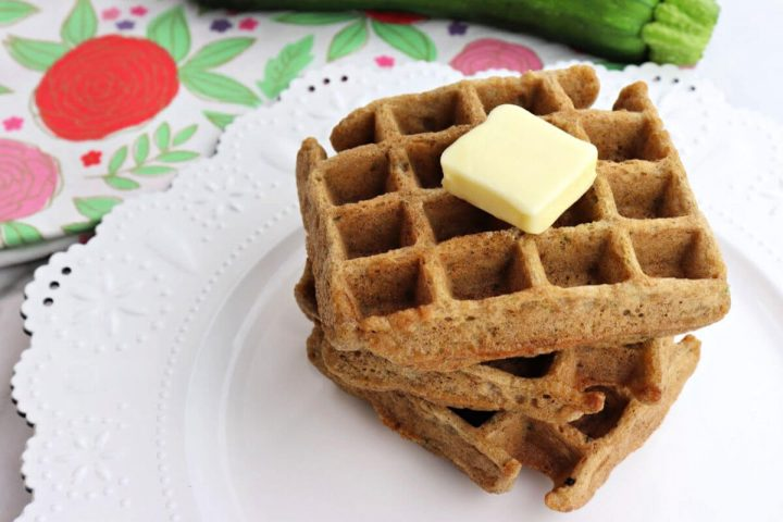 Stack of keto low carb zucchini waffles