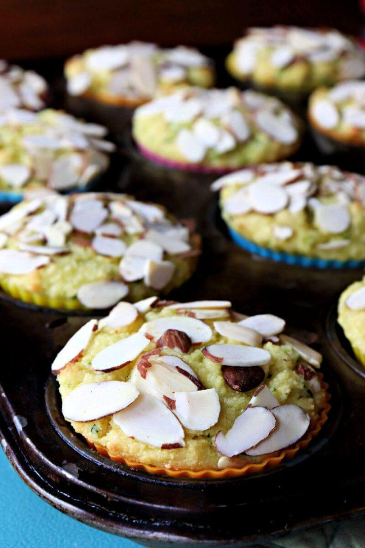 Keto zucchini muffins in a pan