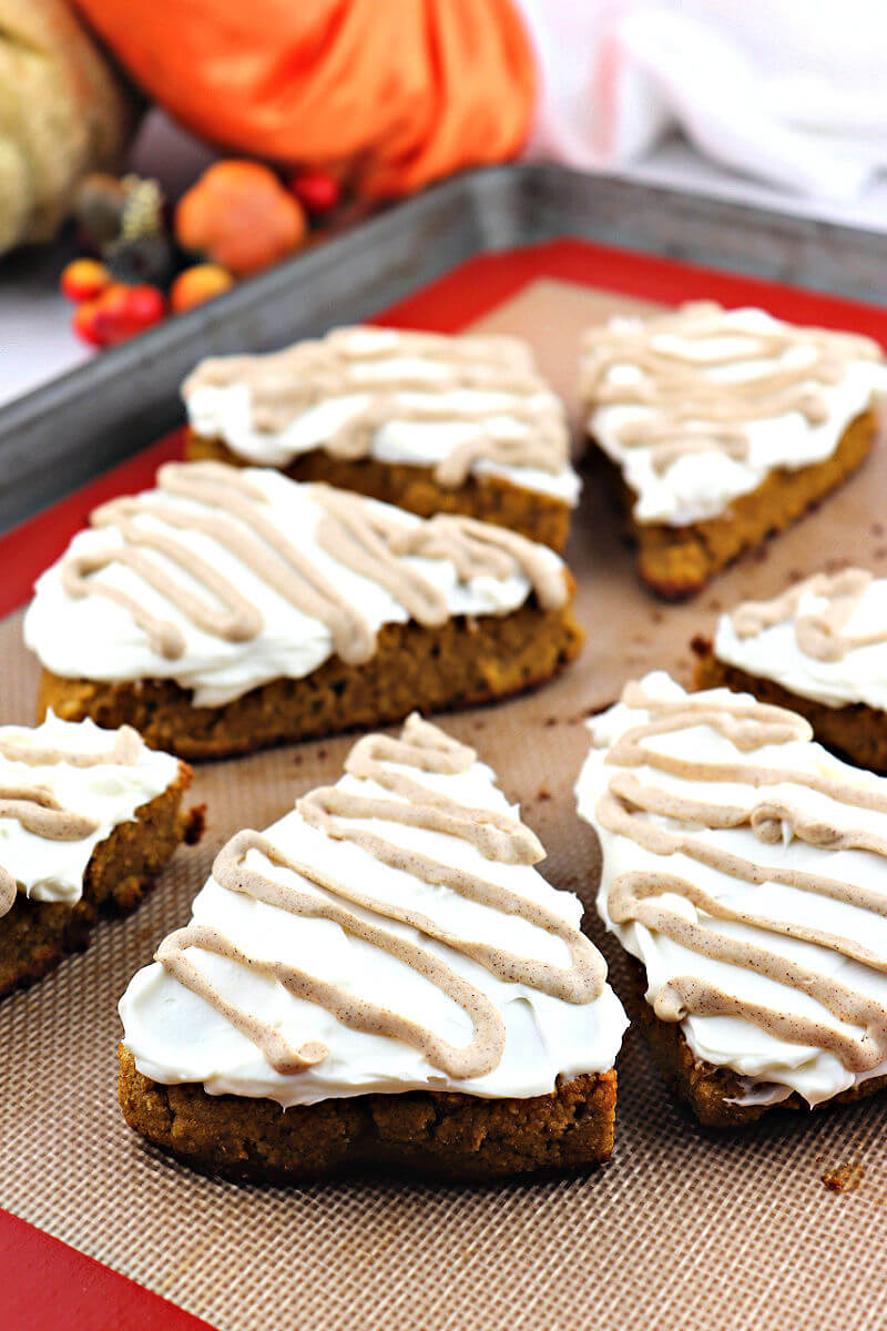 Keto Pumpkin Scones on a baking pan