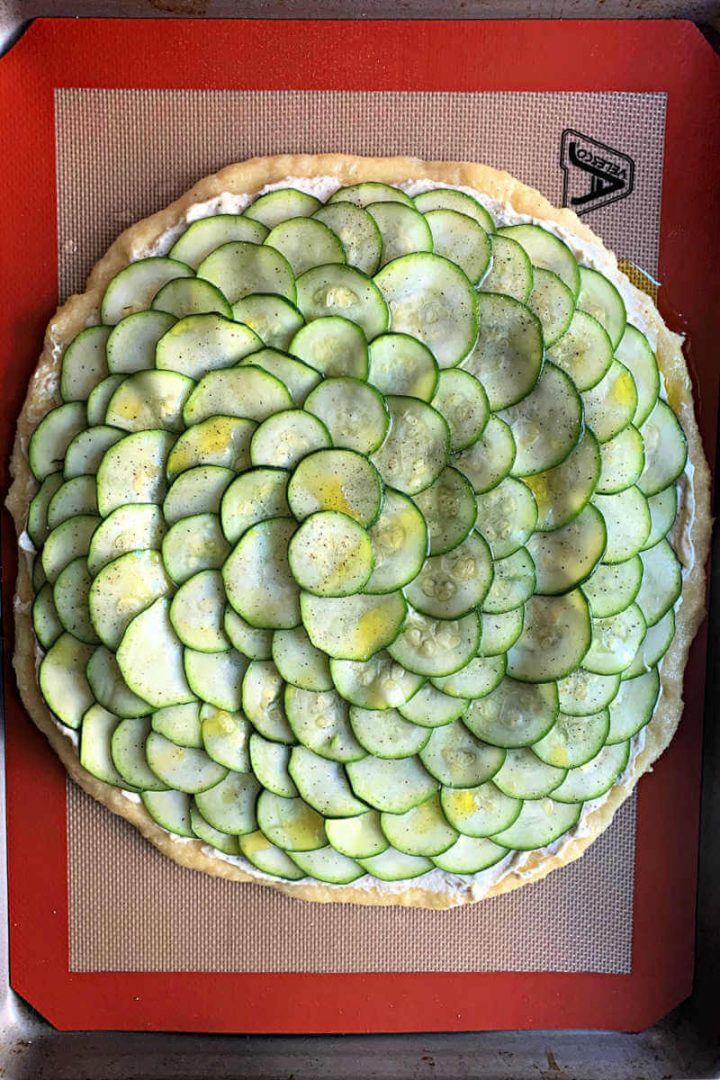 Keto zucchini tart pizza ready to bake
