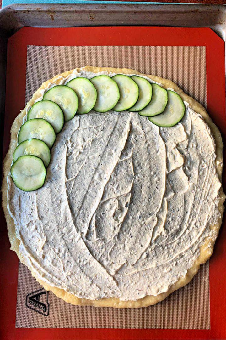 Keto zucchini tart pizza with zucchini circles