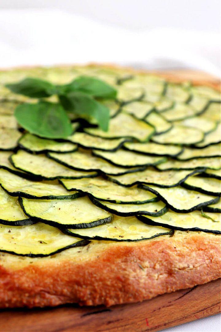 Side view of keto zucchini tart pizza