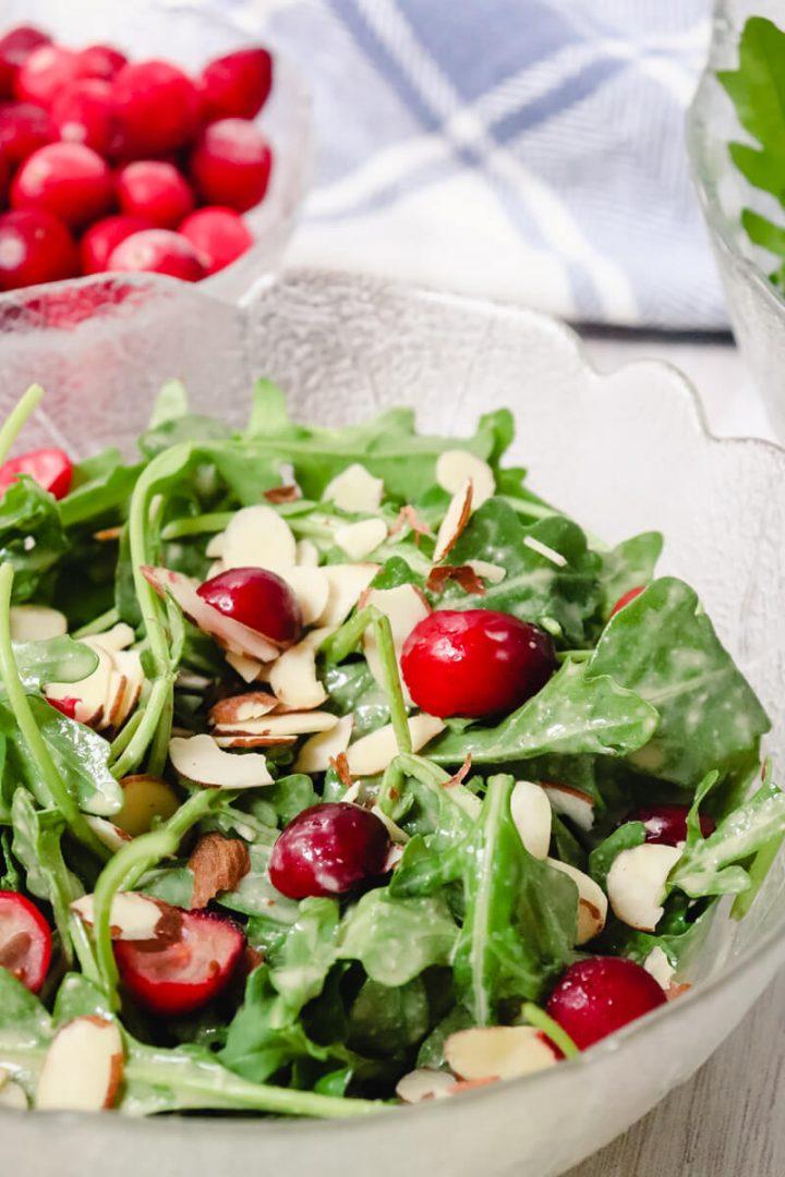 Almonds and cranberries on keto tahini dressing salad