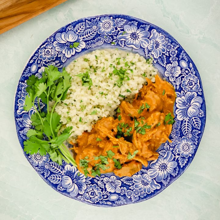 Overhead view of keto butter chicken instant pot and cauliflower rice