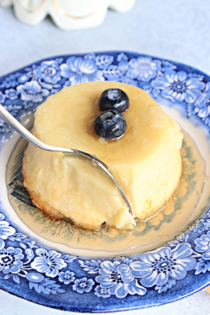 Spoon in keto flan to eat