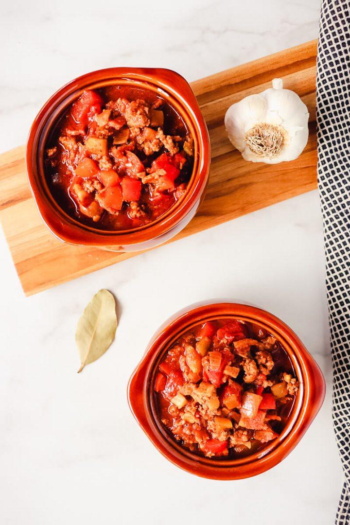 Two bowls of keto chili