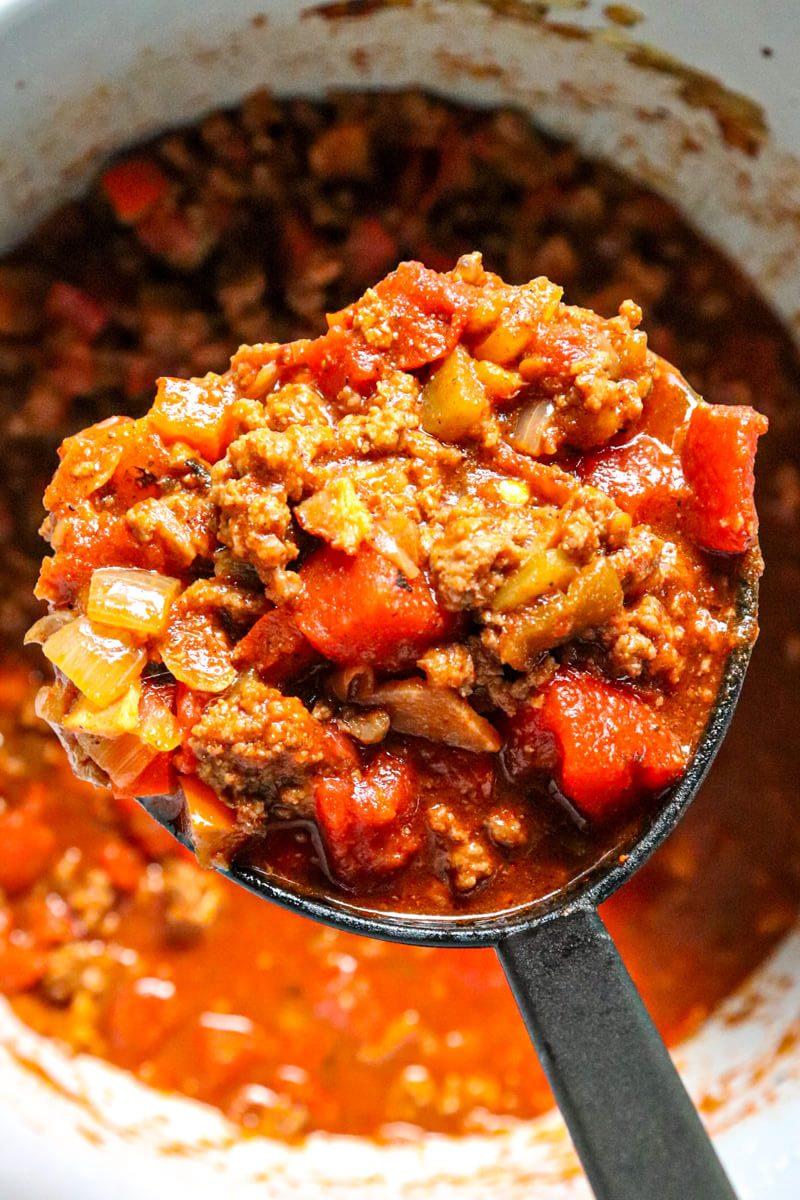 Ladle of keto chili
