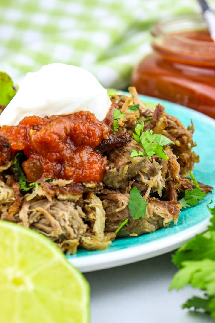 Plate of shredded keto carnitas