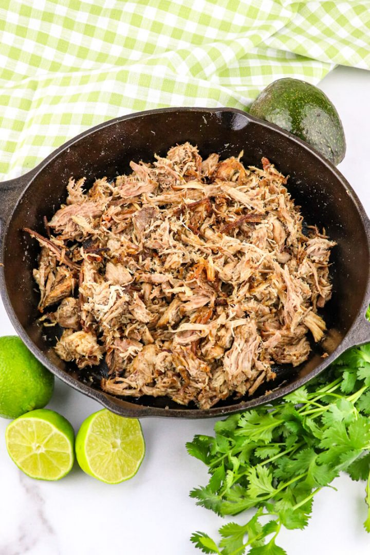 Instant Pot Keto Carnitas in a cast-iron skillet