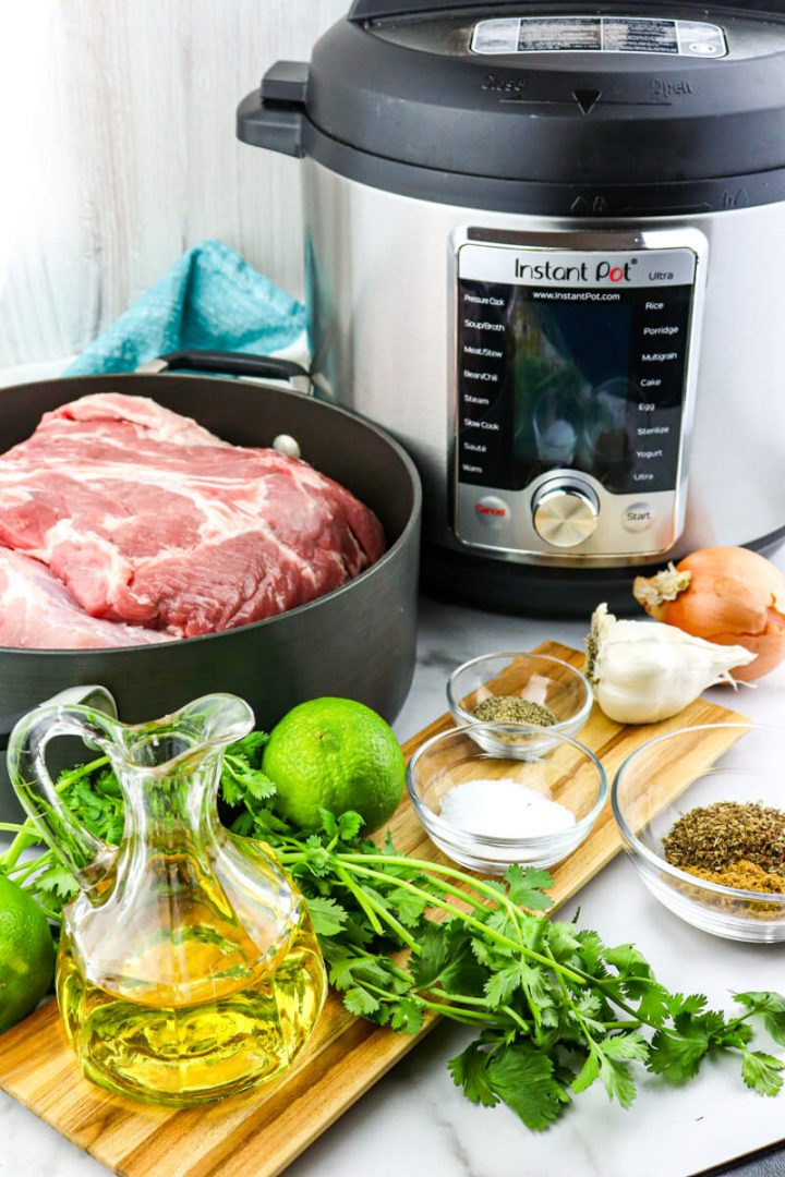 Ingredients for keto carnitas and Instant Pot