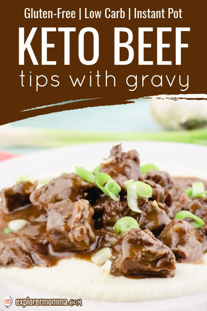 Front close up of keto beef tips with gravy and cauliflower mashed potatoes