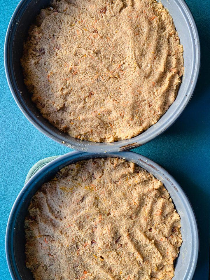 Keto carrot cake batter in pans to bake