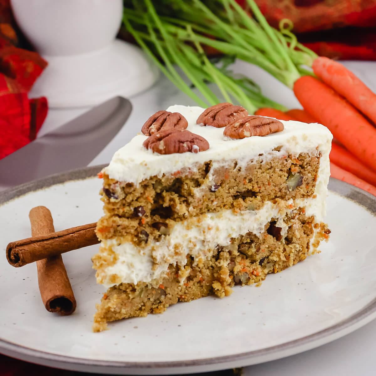 Piece of keto carrot cake on a plate