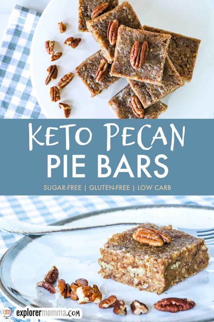 Keto pecan pie bars on a white plate
