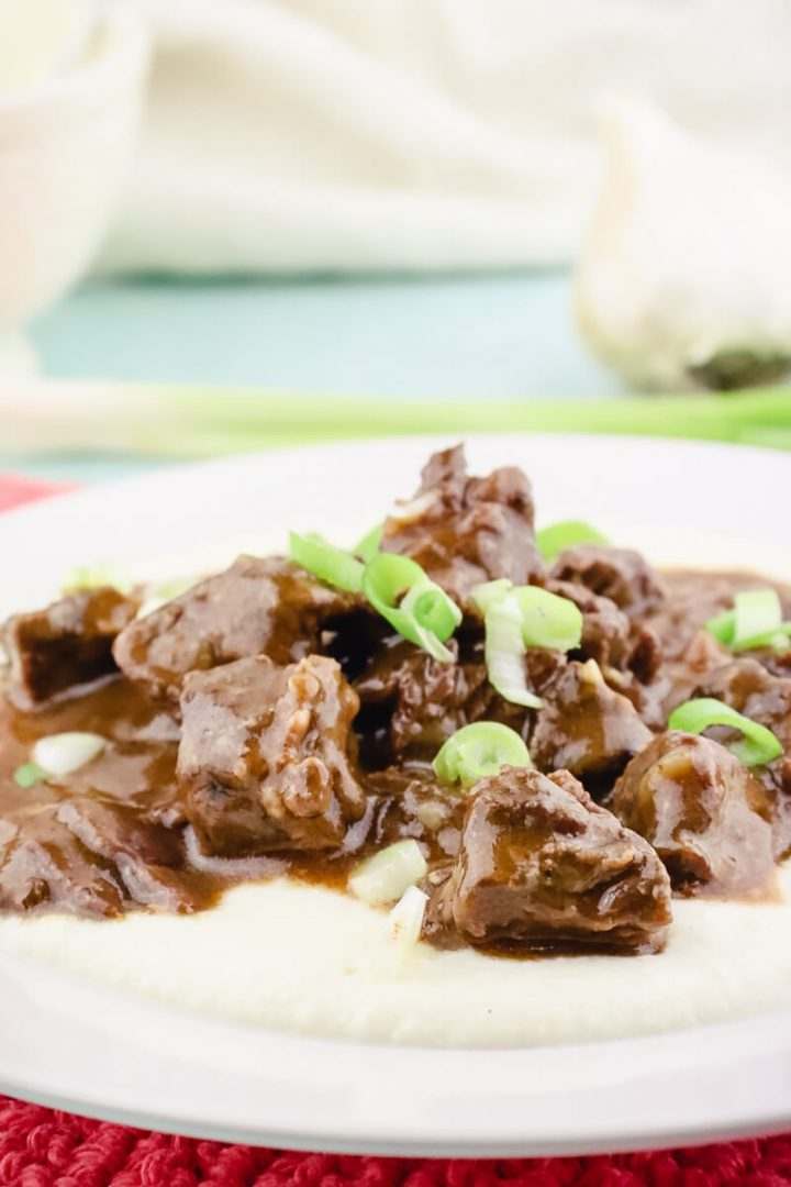 Keto beef tips with gravy and cauliflower puree