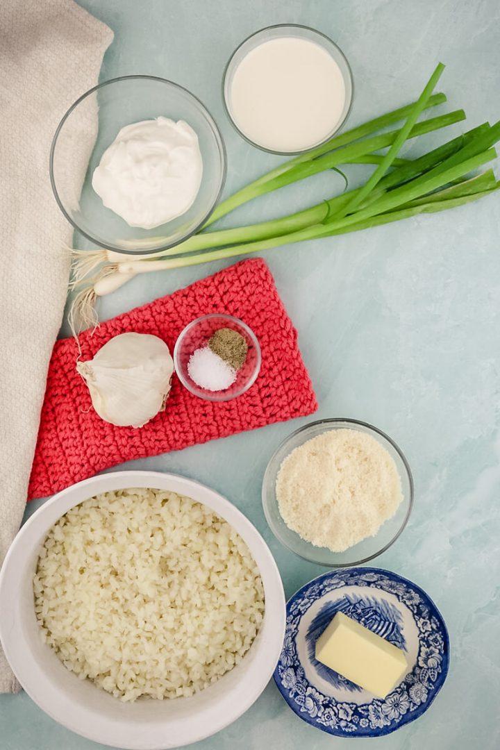 Ingredients in cauliflower mashed potatoes keto