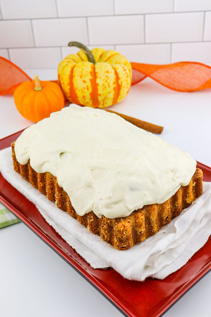 Frosted keto pumpkin bread