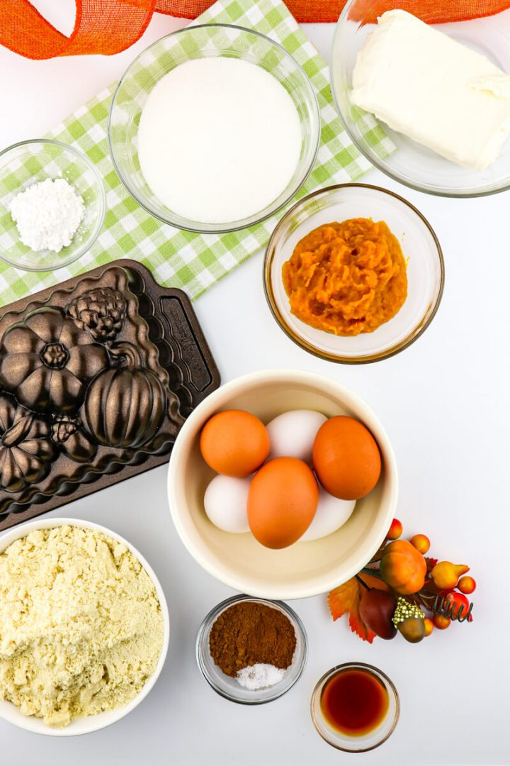 Ingredients for keto pumpkin bread