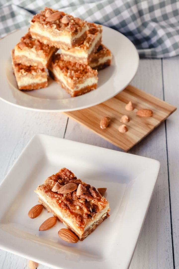 Keto butterscotch cheesecake bars on a plate