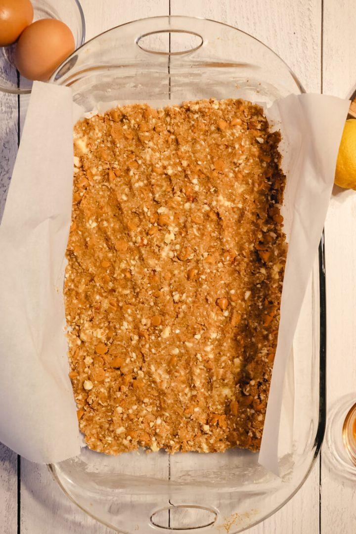 Process shot of keto cheesecake butterscotch bars