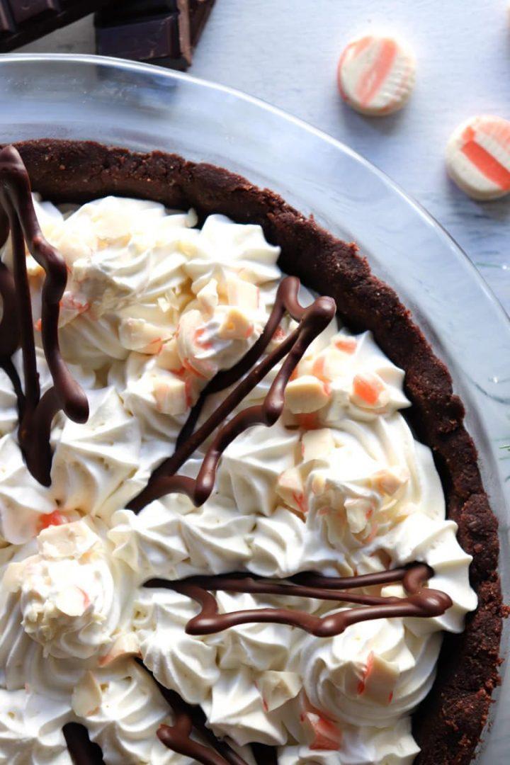 Keto peppermint cream pie, close-up overhead