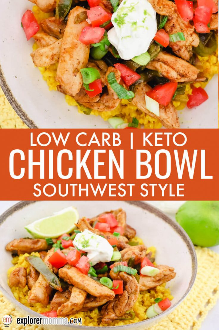Keto southwest chicken bowls view overhead