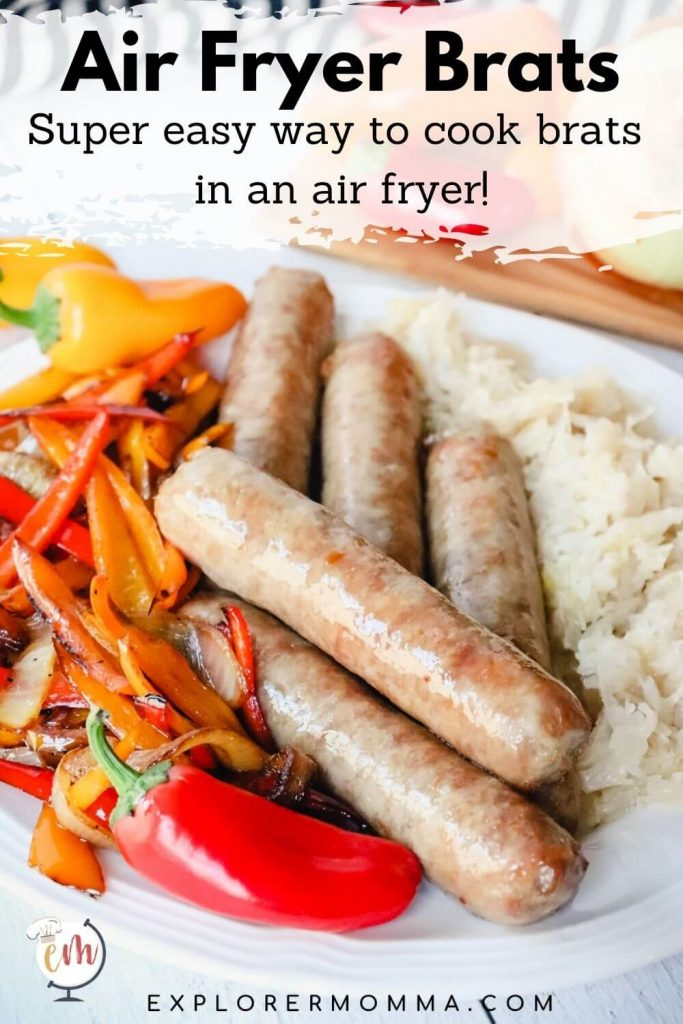 Brats cooked in air fryer on a plate