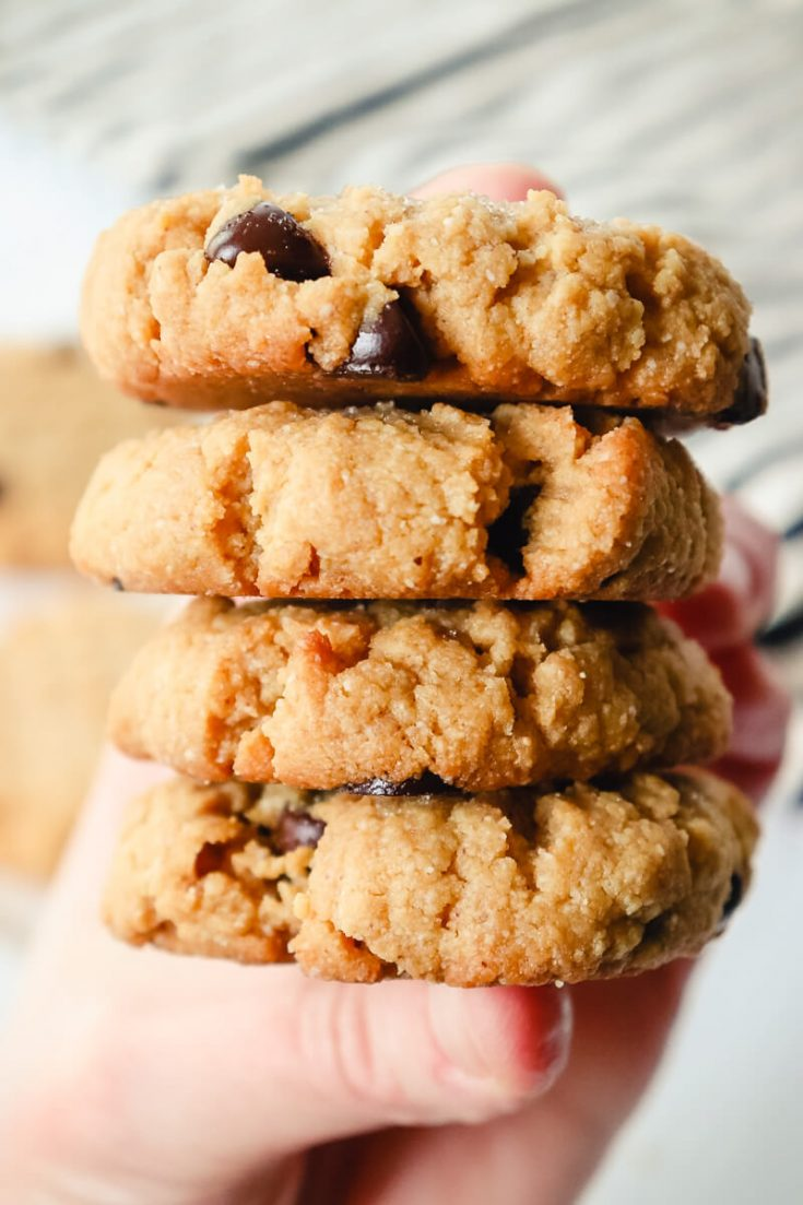 Stack of keto peanut butter chocolate chip cookies