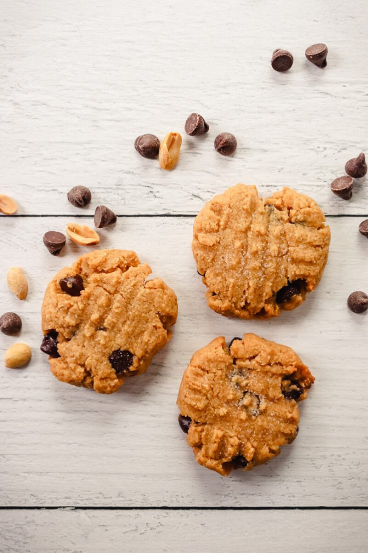 Overhead view of 3 keto peanut butter cookies