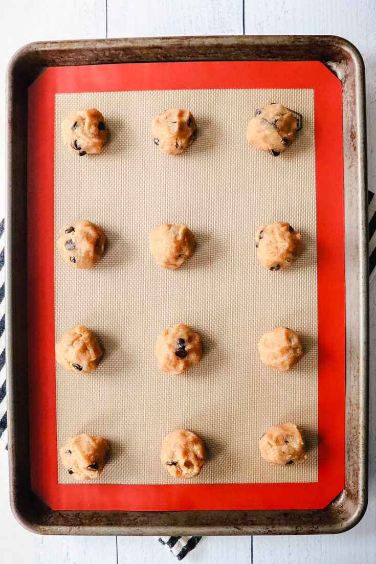 Overhead view of keto peanut butter chocolate chip cookie dough balls