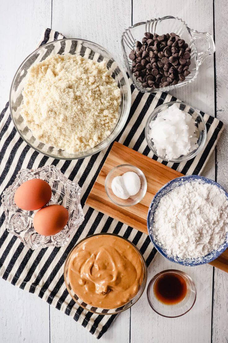 Ingredients in keto peanut butter chocolate chip cookies