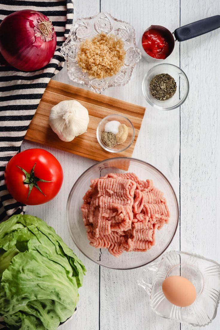 Overhead view of ingredients in keto turkey burgers